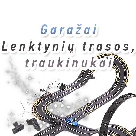 Žaisliniai garažai, lenktynių trasos, traukinukai