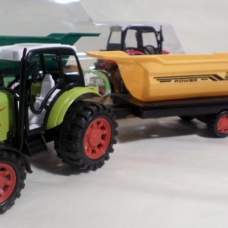 Traktorius su dviaše puspriekabe